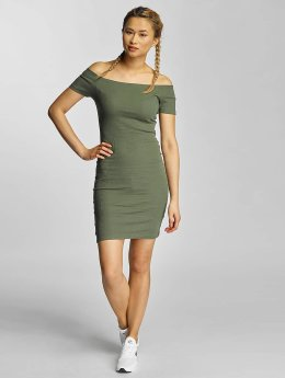 Urban Classics Frauen Kleid Off Shoulder Rib in olive