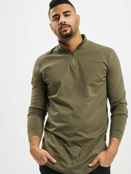 Urban Classics Longsleeve Long Shaped Turtle Zip olijfgroen