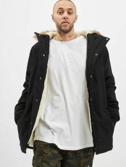 Urban Classics Manteau Heavy Cotton Imitation Fur noir