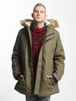 Urban Classics Manteau Heavy Cotton Imitation Fur olive