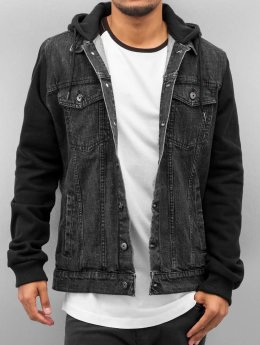 Urban Classics Overgangsjakker Hooded Denim Fleece sort