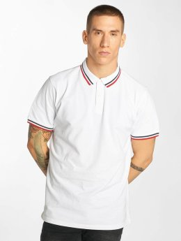 Urban Classics Polo Double Stripe blanc