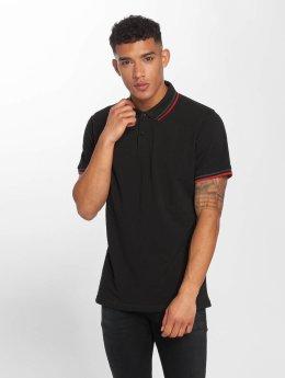 Urban Classics poloshirt Double Stripe zwart