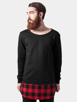 Urban Classics Pullover Long Flanell Bottom Open Edge schwarz