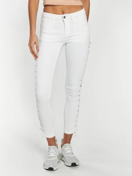 Urban Classics Frauen Skinny Jeans Lace Up Denim in weiß