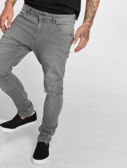 Urban Classics Slim Fit Jeans Knee Cut šedá