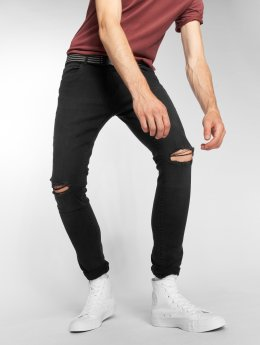 Urban Classics Slim Fit Jeans Knee Cut schwarz