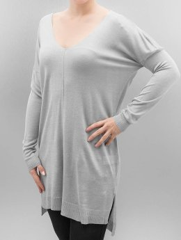Urban Classics Sweat & Pull Ladies Fine Knit Oversize V-Neck gris