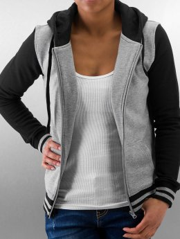 Urban Classics Sweat capuche zippé Ladies 2-Tone College gris