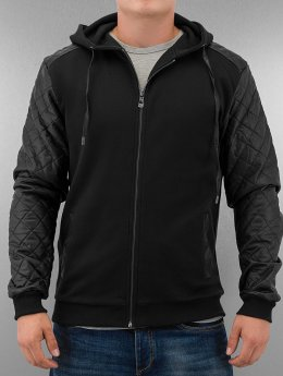 Urban Classics Sweat capuche zippé Diamond Leather Imitation noir