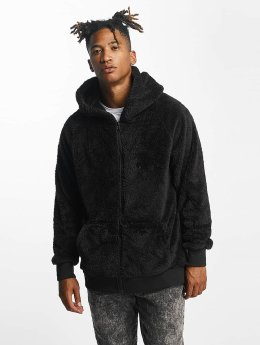 Urban Classics Sweat capuche zippé Teddy noir