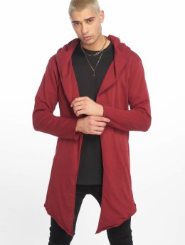 Urban Classics Swetry rozpinane Long Hooded Open Edge czerwony