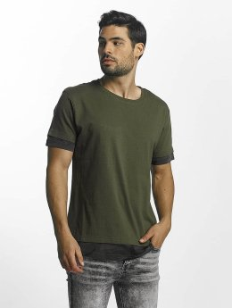 Urban Classics T-paidat Long Shaped Camo Inset oliivi