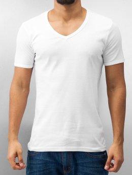 Urban Classics T-Shirt Slim 1by1 V-Neck blanc