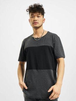 Urban Classics T-Shirt Contrast Panel gris