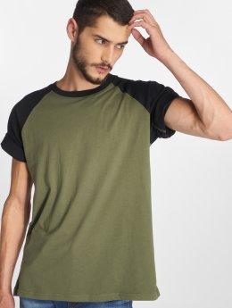 Urban Classics t-shirt Raglan Contrast olijfgroen