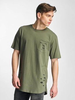 Urban Classics T-Shirt Ripped Pocket olive