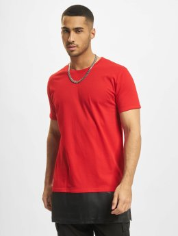 Urban Classics T-Shirt Long Zipped Leather Imitation Bottom red
