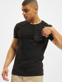 Urban Classics T-Shirt Leather Imitation Pocket schwarz