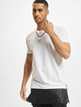 Urban Classics T-Shirt Long Zipped Leather Imitation Bottom weiß