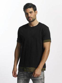 Urban Classics t-shirt Long Shaped Camo Inset zwart