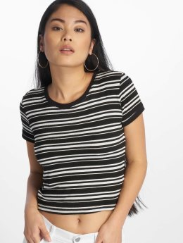 Urban Classics / t-shirt Rib Stripe Cropped in zwart