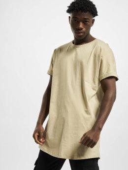 Urban Classics T-Shirty Long Shaped Turnup bezowy