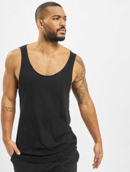 Urban Classics Tank Tops Long Shaped Open Edge Loose čern