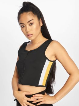 Urban Classics Top Side Stripe Crop Zip schwarz