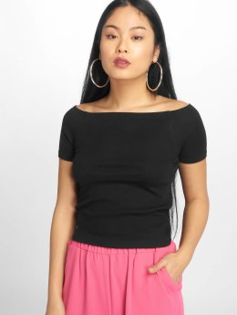 Urban Classics top Off Shoulder Rib zwart