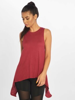 Urban Classics Tops sans manche Ladies HiLo Viscose rouge