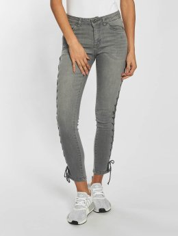 Urban Classics Tynne bukser Lace Up Denim grå
