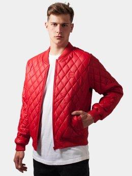 Urban Classics Übergangsjacke Diamond Quilt Leather Imitation rot