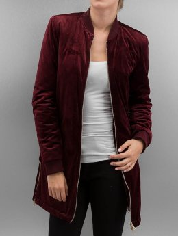 Urban Classics Frauen Übergangsjacke Ladies Long Velvet in rot