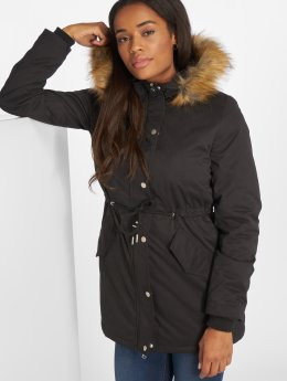 Urban Classics Winterjacke Ladies Sherpa Lined Peached schwarz