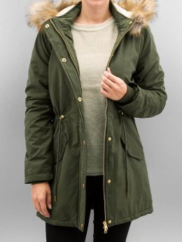 Urban Classics winterjas Ladies Sherpa Lined Peached olijfgroen