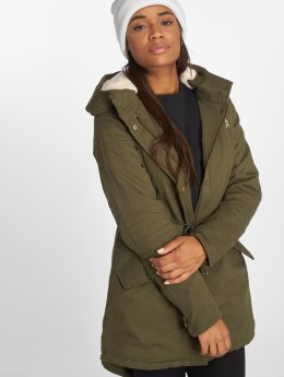 Urban Classics winterjas Ladies Sherpa Lined Cotton olijfgroen