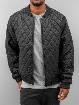 Urban Classics Zomerjas Diamond Quilt Leather Imitation zwart