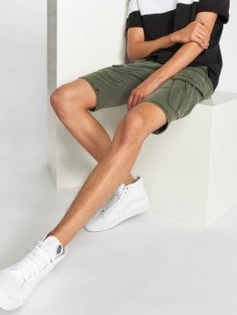Urban Surface Colored Jogg Jeans Shorts Military Green