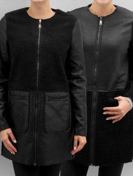 Vero Moda Kurtki skórzane vmToni 3/4 Leather Long Reversible czarny