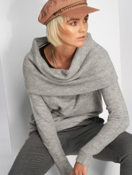 Vero Moda Pullover vmAgoura Off Shoulder grau