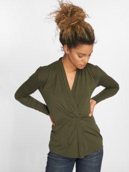 Vero Moda Tričká dlhý rukáv vmEsta Pleated olivová