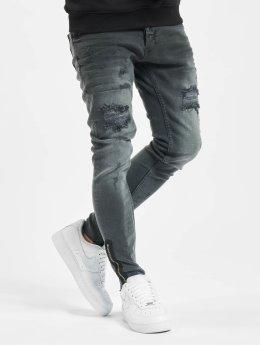 VSCT Clubwear Облегающие джинсы Thor Leg Botton серый