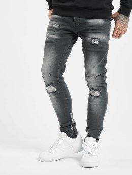 VSCT Clubwear Облегающие джинсы Knox Leg Bottom Zip черный