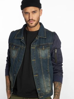VSCT Clubwear Denim Jacket Bomber Sleeves blue