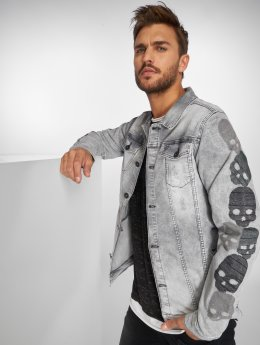 VSCT Clubwear Denim Jacket Skull Sleeve Muscle Fit grey