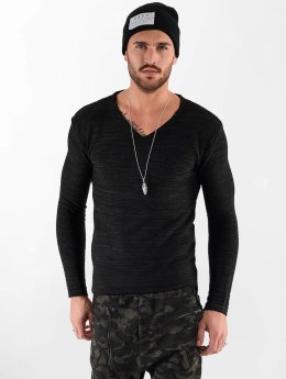 VSCT Clubwear Pitkähihaiset paidat Clubwear V Neck Knit Optics musta