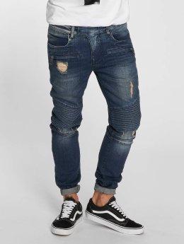 VSCT Clubwear Slim Fit Jeans Liam Biker modrý