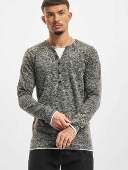 VSCT Clubwear Tričká dlhý rukáv Buttoned Double Optic šedá
