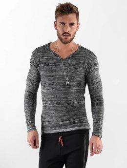 VSCT Clubwear Tričká dlhý rukáv Clubwear V Neck Knit Optics šedá